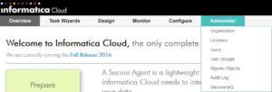 Informatica Cloud - Menü Administer