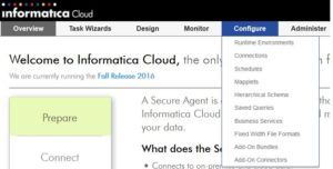 Informatica Cloud - Menü Configure
