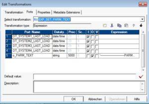 Informatica - Parameterfile dynamisch generieren - Expression