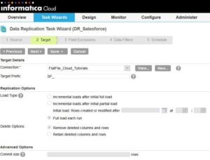 Informatica Cloud - Data Replication Task Step 2