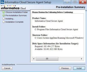 Informatica Cloud Secure Agent installieren Step 2